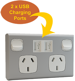 Double Power Point with 2 x USB Charging Ports